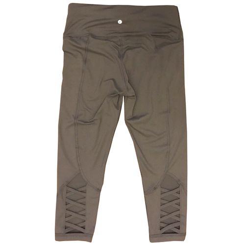 Active Life Athletic Yoga Capris Pants High Waisted Lattice In Smoke Grey, Medium