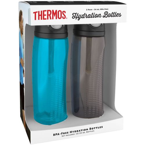 Thermos Hydration Water Bottles 2 pack, 24 oz, (Teal/Smoke)