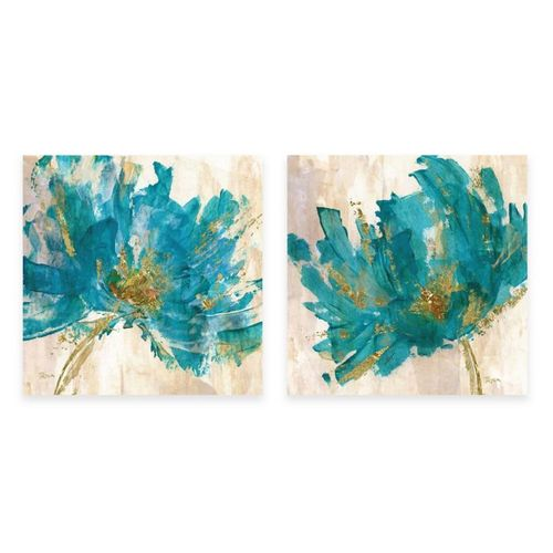 Courtside Market 2 Pieces Contemporary Teal Flower Canvas Wall Art