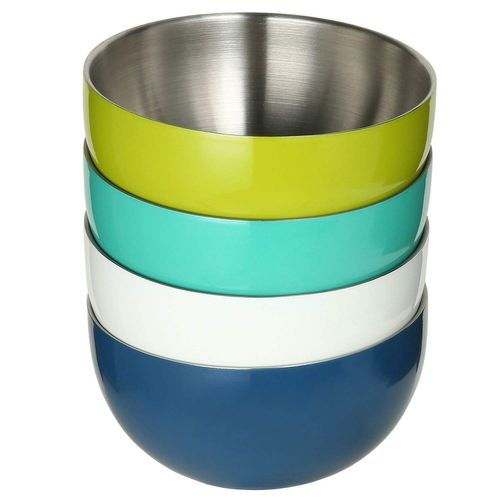 DOUBLE WALL STAINLESS STEEL BOWL SET, 4 PACK MULTICOLOR