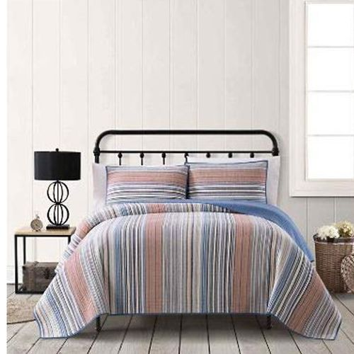 AMERICAN TRADITIONS 3 PC COTTON QUILT SET, F/Q in BLUE STRIPES