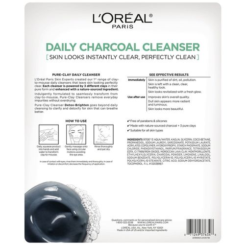 LOREAL PURE CLAY CLEANSER-DETOX-BRIGHTEN--CHARCOAL 4.4 OZ EACH