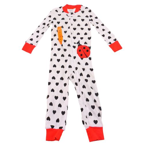 Little Me Baby Girls Black Hearts Zip Front Pajamas In Cranberry Print, 3T