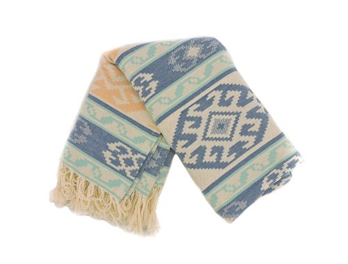 OUTDOOR THROW - WITH FRINGE CORAL AQUA IVORY, 50 IN X 60 IN