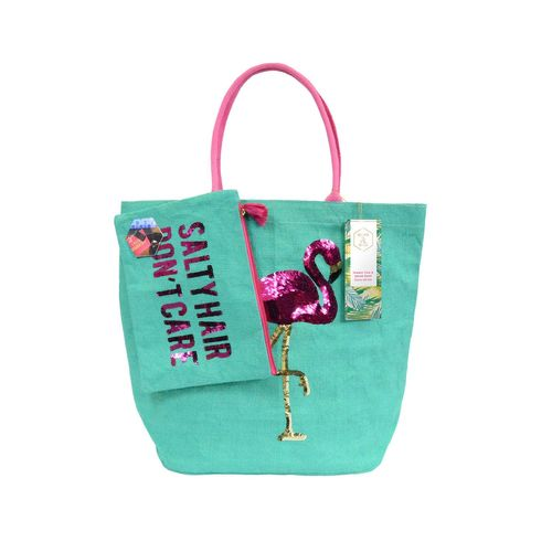 Olive & Hill Jute Tote Bag and Matching Carry-All Clutch Set - AQUA, FLAMINGO
